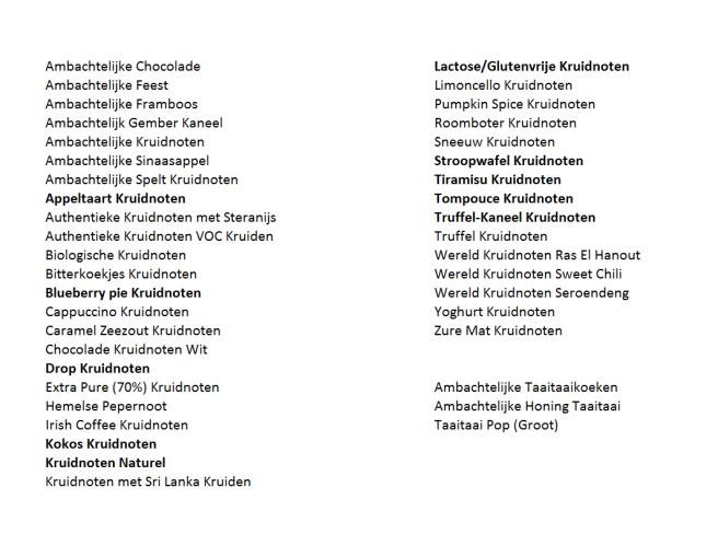 Lijst met smaken